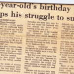 Newspaper Article on James' first birthday